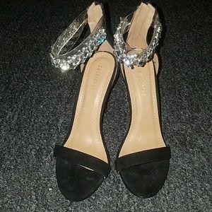 "Black fashion nova strappy 4"" heels w/ rhinstones"